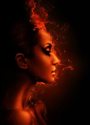 vrouw vuur